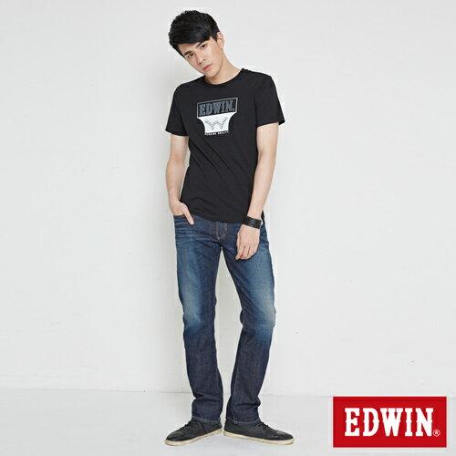 【網路限定款。9折優惠↘】EDWIN 翻玩經典雙LOGO 短袖T恤-男款 黑色【單筆899結帳輸入優惠券代碼ShoppingFestival-2。現折100元】 3