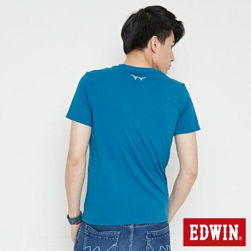 【網路限定款。9折優惠↘】EDWIN 三角漩渦幾何圖 短袖T恤-男款 灰藍色 1