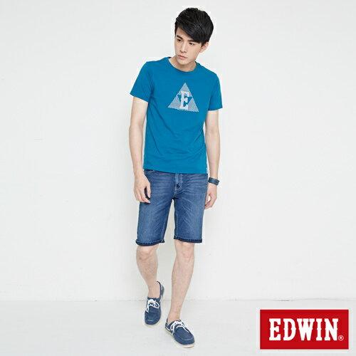 【網路限定款。9折優惠↘】EDWIN 三角漩渦幾何圖 短袖T恤-男款 灰藍色 3