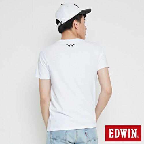 【網路限定款。9折優惠↘】EDWIN 三角漩渦幾何圖 短袖T恤-男款 白色 1
