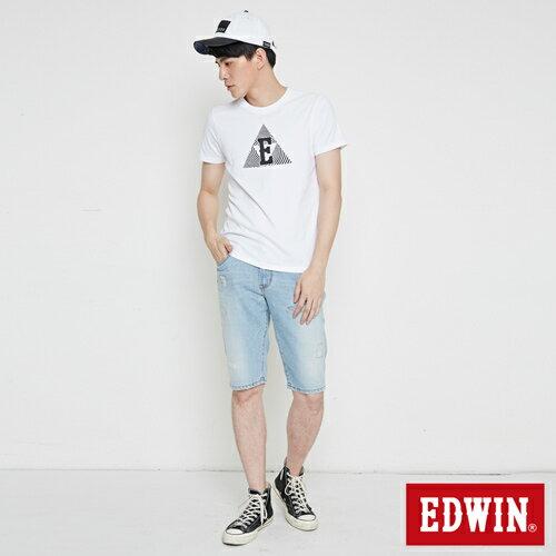 【網路限定款。9折優惠↘】EDWIN 三角漩渦幾何圖 短袖T恤-男款 白色 3