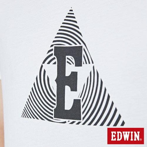 【網路限定款。9折優惠↘】EDWIN 三角漩渦幾何圖 短袖T恤-男款 白色 4