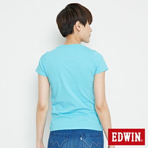 【網路限定款。9折優惠↘】EDWIN 立體夾心ED 短袖T恤-女款 水藍色【單筆2000結帳輸入優惠券代碼161021-5。現折240元】 1