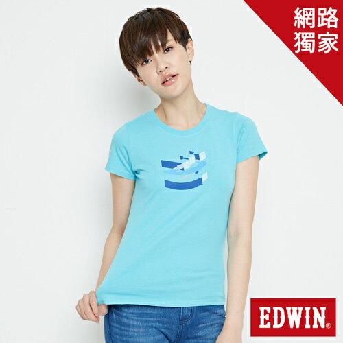【網路限定款。9折優惠↘】EDWIN 立體夾心ED 短袖T恤-女款 水藍色【單筆2000結帳輸入優惠券代碼161021-5。現折240元】 0