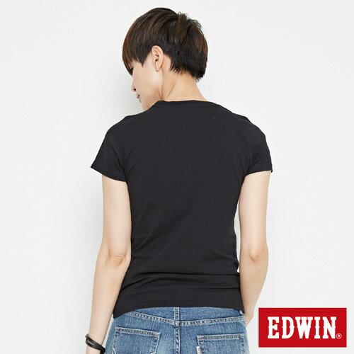 【網路限定款。9折優惠↘】EDWIN 立體夾心ED 短袖T恤-女款 黑色【單筆2000結帳輸入優惠券代碼161028。現折240元】 1