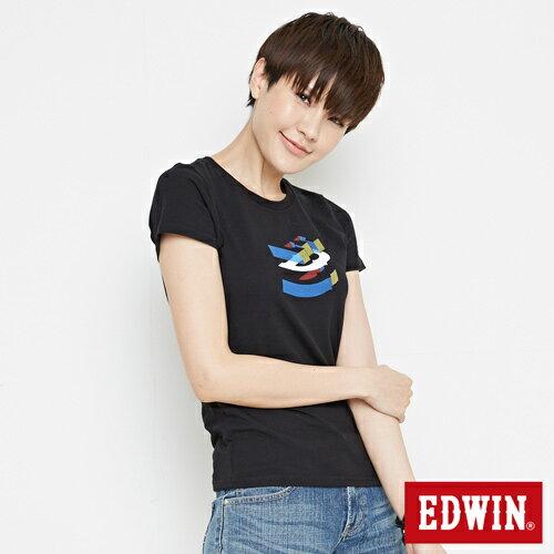 【網路限定款。9折優惠↘】EDWIN 立體夾心ED 短袖T恤-女款 黑色【單筆2000結帳輸入優惠券代碼161028。現折240元】 2
