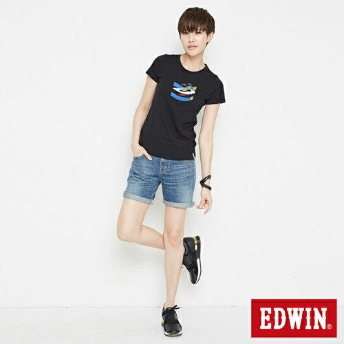 【網路限定款。9折優惠↘】EDWIN 立體夾心ED 短袖T恤-女款 黑色【單筆2000結帳輸入優惠券代碼161028。現折240元】 3