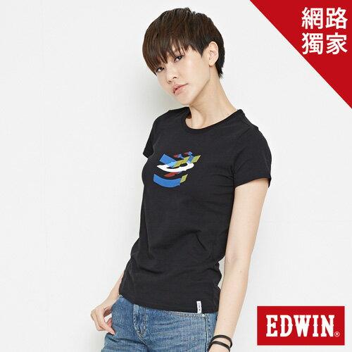 【網路限定款。9折優惠↘】EDWIN 立體夾心ED 短袖T恤-女款 黑色【單筆2000結帳輸入優惠券代碼161028。現折240元】 0