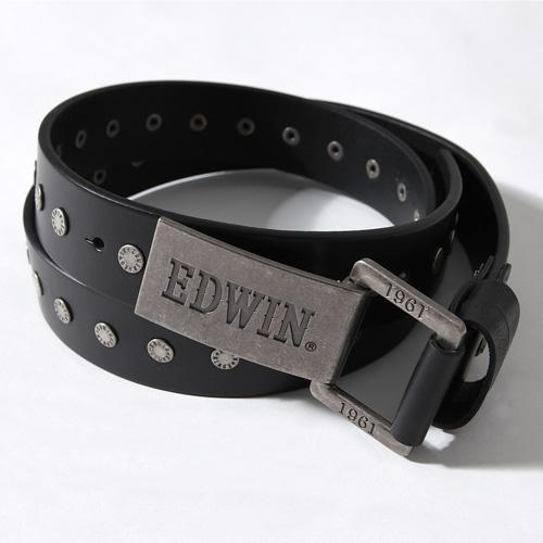 【9折優惠↘】EDWIN 撞釘刻字皮帶-男款 黑色
