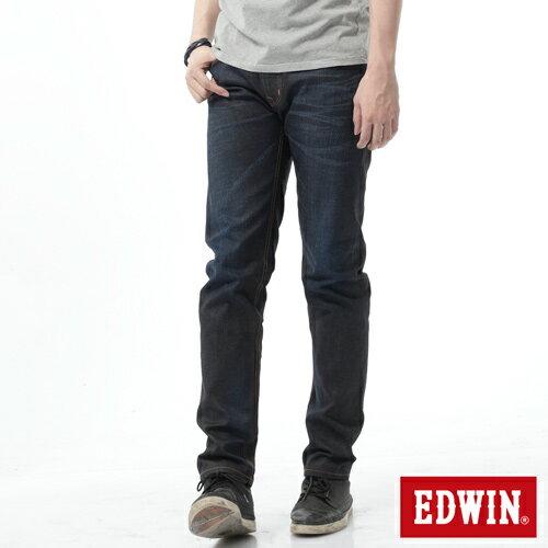 【週年慶。8折優惠↘】EDWIN 505桔布邊生地窄管牛仔褲-男-原藍磨 0