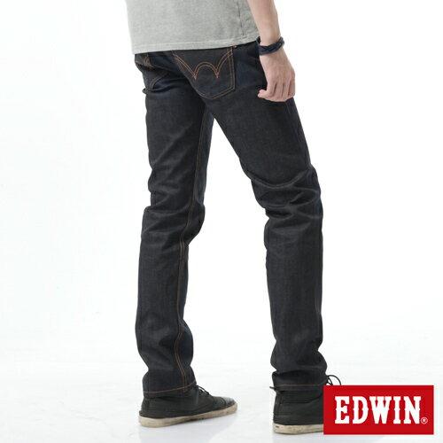 【週年慶。8折優惠↘】EDWIN 505桔布邊生地窄管牛仔褲-男-原藍磨 1