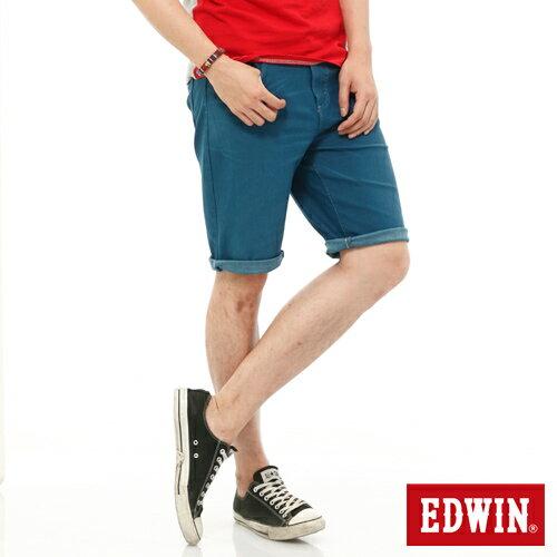 【9折優惠↘】EDWIN JERSEYS迦績內藏腰頭彩色短褲-男-藍色 0