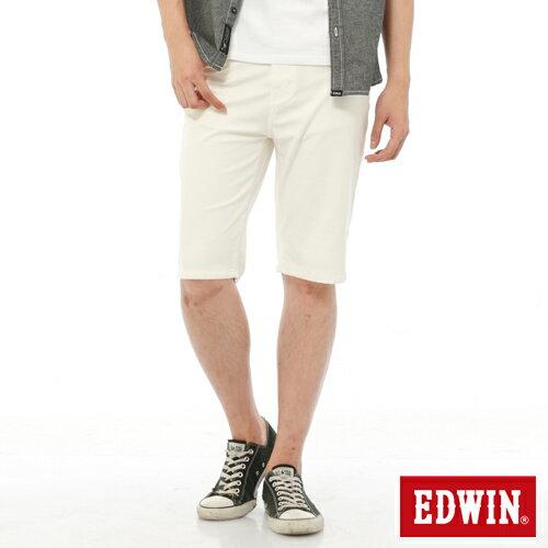 【9折優惠↘】EDWIN JERSEYS迦績內藏腰頭彩色短褲-男-白色 0