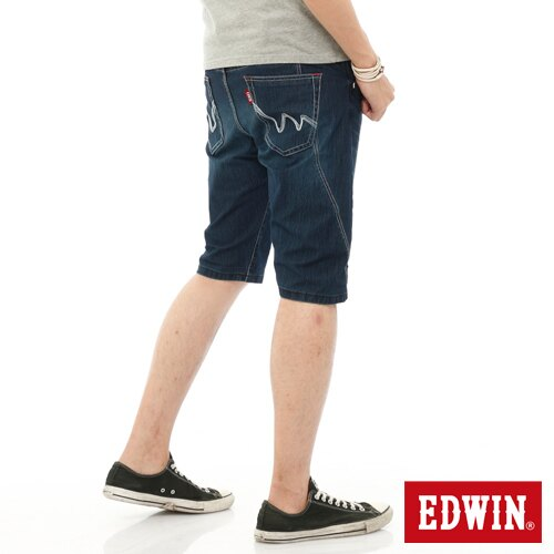 【1290元優惠↘】EDWIN JERSEYS迦績側剪接牛仔短褲-男-石洗綠 1