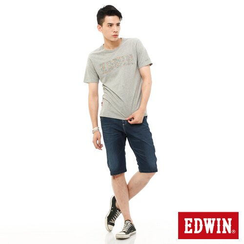 【1290元優惠↘】EDWIN JERSEYS迦績側剪接牛仔短褲-男-石洗綠 2