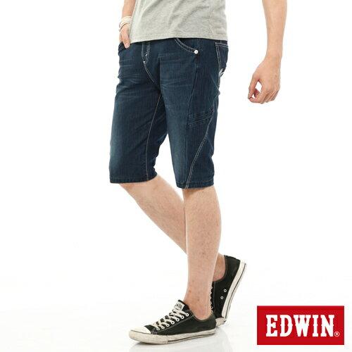 【1290元優惠↘】EDWIN JERSEYS迦績側剪接牛仔短褲-男-石洗綠 0