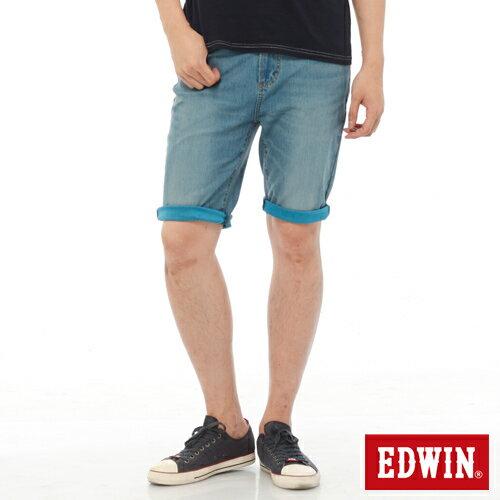 【1290元優惠↘】【大尺碼】EDWIN JERSEYS迦績內藏腰頭牛仔短褲-男-中古藍 1