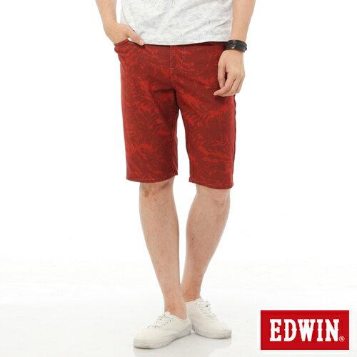 【1290元優惠↘】EDWIN JERSEYS迦績超彈力印花短褲-男-暗桔 0