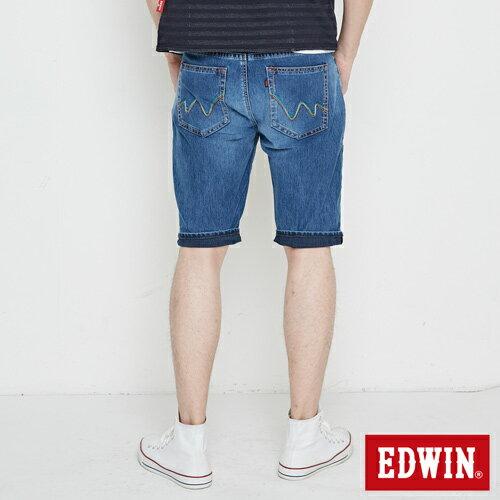 【週年慶。8折優惠↘】【大尺碼】 EDWIN JERSEYS迦績紅腰頭牛仔短褲-男-酵洗藍 0