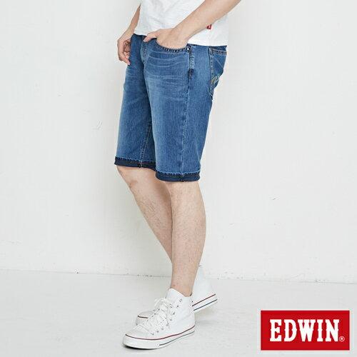 【週年慶。8折優惠↘】【大尺碼】 EDWIN JERSEYS迦績紅腰頭牛仔短褲-男-酵洗藍 2