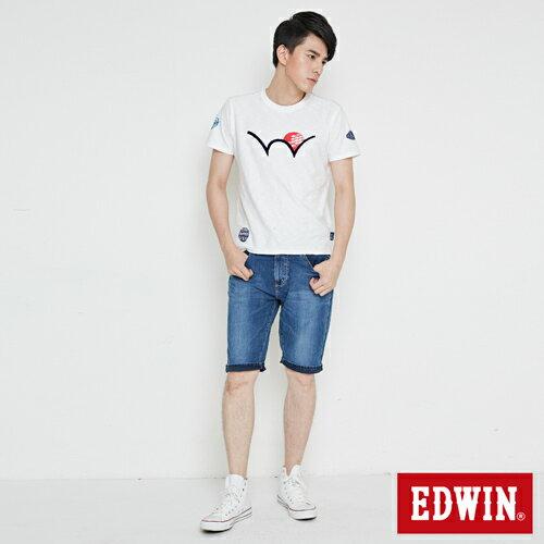 【週年慶。8折優惠↘】【大尺碼】 EDWIN JERSEYS迦績紅腰頭牛仔短褲-男-酵洗藍 3