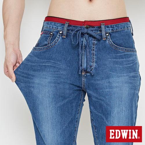 【週年慶。8折優惠↘】【大尺碼】 EDWIN JERSEYS迦績紅腰頭牛仔短褲-男-酵洗藍 4