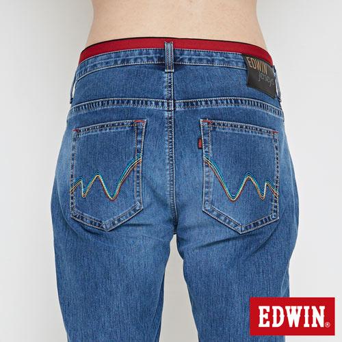 【週年慶。8折優惠↘】【大尺碼】 EDWIN JERSEYS迦績紅腰頭牛仔短褲-男-酵洗藍 5