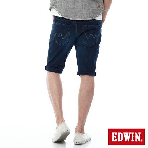 【9折優惠↘】【大尺碼】EDWIN JERSEYS迦績紅腰頭牛仔短褲-男-石洗綠 0