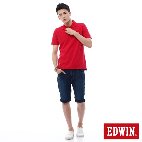 【9折優惠↘】【大尺碼】EDWIN JERSEYS迦績紅腰頭牛仔短褲-男-石洗綠 2