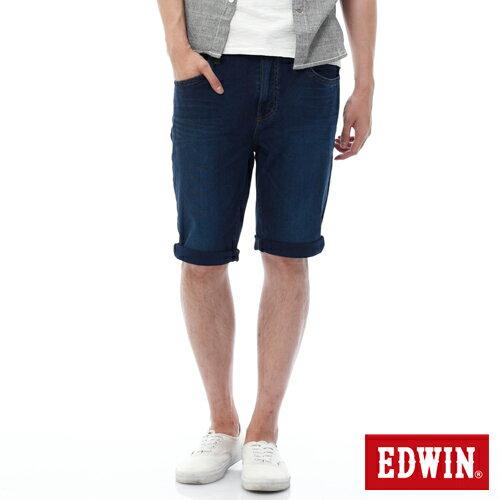 【9折優惠↘】【大尺碼】EDWIN JERSEYS迦績紅腰頭牛仔短褲-男-石洗綠 1