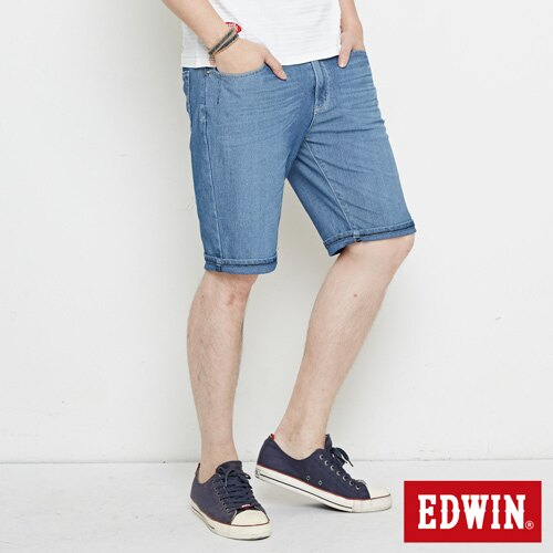 【9折優惠↘】【大尺碼】EDWIN JERSEYS迦績極涼寬短褲-男款 石洗藍 2