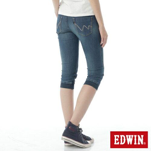 【週年慶。8折優惠↘】EDWIN JERSEYS 迦績3D束口七分牛仔褲-女-石洗藍 1