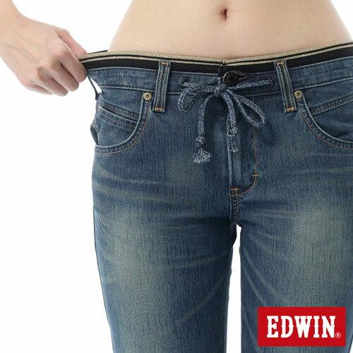 【週年慶。8折優惠↘】EDWIN JERSEYS 迦績3D束口七分牛仔褲-女-石洗藍 3