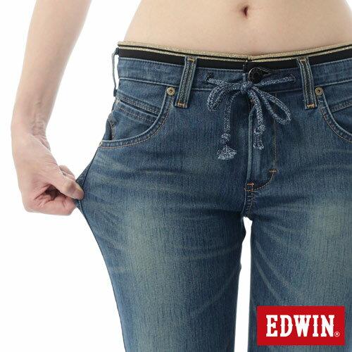 【週年慶。8折優惠↘】EDWIN JERSEYS 迦績3D束口七分牛仔褲-女-石洗藍 4