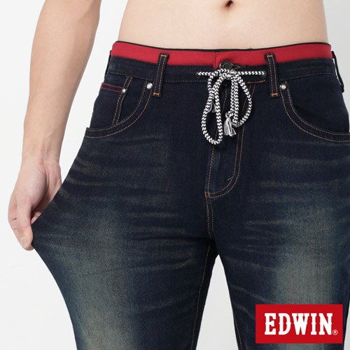 【週年慶。8折優惠↘】【大尺碼】EDWIN JERSEYS 迦績圓織牛仔褲-男款 原藍磨 3