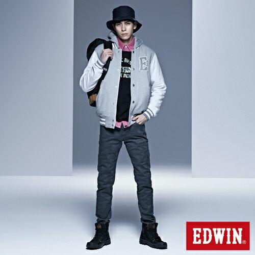 【9折優惠↘】【大尺碼】EDWIN EDGE迷彩提織後染窄直筒褲-男-墨綠 3