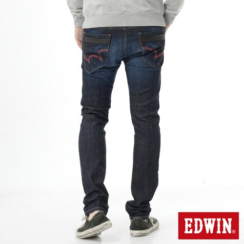 【9折優惠↘】EDWIN EDEG雙層斜袋窄管牛仔褲-男-原藍磨 1