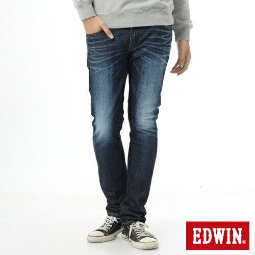 【9折優惠↘】EDWIN EDEG雙層斜袋窄管牛仔褲-男-原藍磨 0