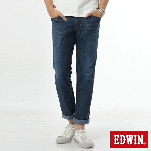 【週年慶。8折優惠↘】EDWIN EDEG 輕爽COOL 中直筒牛仔褲-男-拔洗藍 0