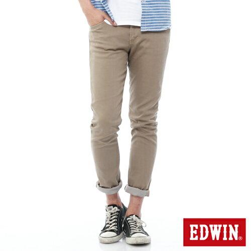 【週年慶。8折優惠↘】EDWIN EDEG 乾爽COOL 窄直筒色褲-男-卡其 0