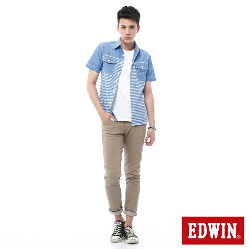 【週年慶。8折優惠↘】EDWIN EDEG 乾爽COOL 窄直筒色褲-男-卡其 2