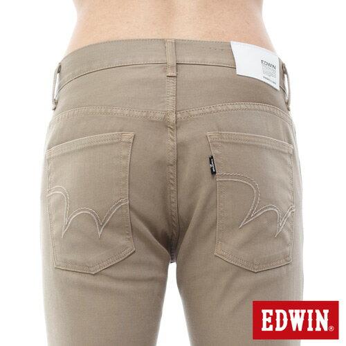 【週年慶。8折優惠↘】EDWIN EDEG 乾爽COOL 窄直筒色褲-男-卡其 3