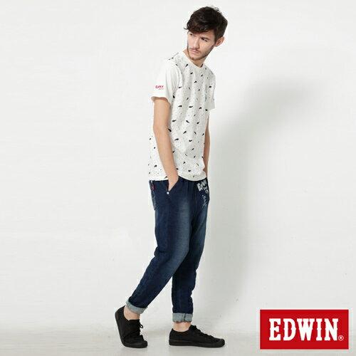 【9折優惠↘】【江戶勝系列】EDWIN 針織刷色束口長褲-男-拔洗藍 2