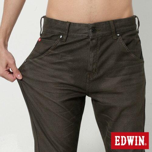 【週年慶。8折優惠↘】EDWIN JERSEYS x E-F 迦績磨毛窄直筒色褲-男款 橄欖綠 3