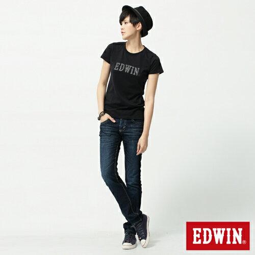 【5折優惠↘】Miss EDWIN BLUE TRIP 後袋剪接窄管直筒-女款 酵洗藍 2