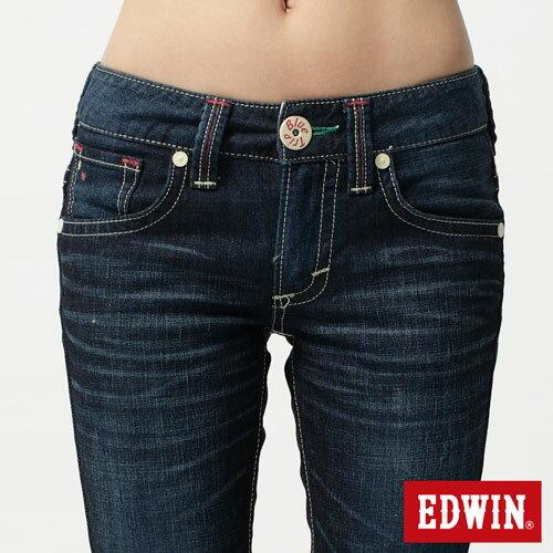 【5折優惠↘】Miss EDWIN BLUE TRIP 後袋剪接窄管直筒-女款 酵洗藍 3