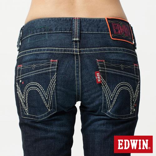 【5折優惠↘】Miss EDWIN BLUE TRIP 後袋剪接窄管直筒-女款 酵洗藍 4