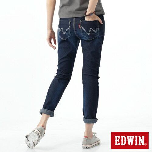 【週年慶。8折優惠↘】EDWIN 503 JERSEYS迦績立體剪裁牛仔褲-女款 原藍磨 1