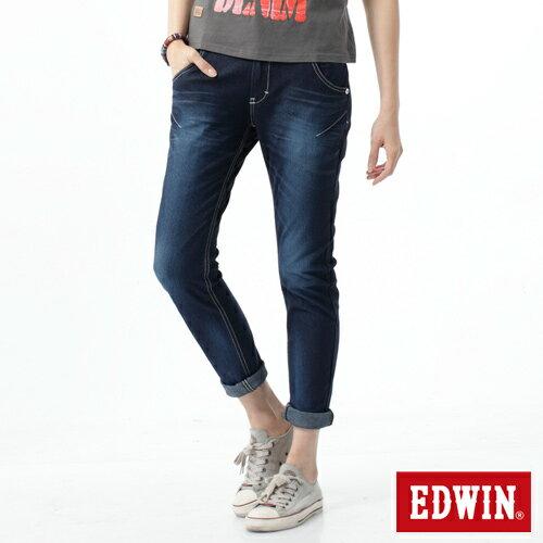 【週年慶。8折優惠↘】EDWIN 503 JERSEYS迦績立體剪裁牛仔褲-女款 原藍磨 0