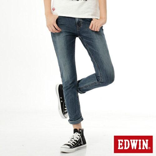 【週年慶。8折優惠↘】Miss EDWIN JERSEYS x B.T迦績皮綁繩窄直筒牛仔褲-女款 拔洗藍 0